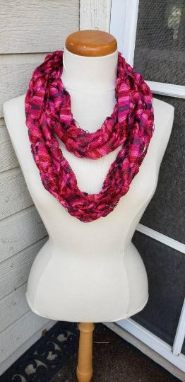 Arm Knit Ribbon Infinity Scarf - $20