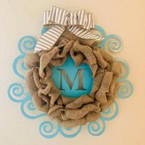 Burlap with Blue Metal Monogram