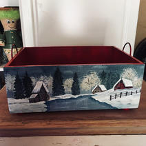 Front Side of Wooden Box with Metal Handles - $20.00
