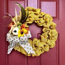 Yellow Burlap with Decoration