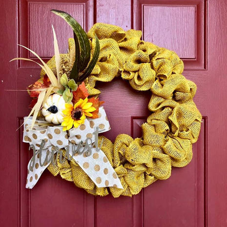 Yellow Burlap with Decoration
