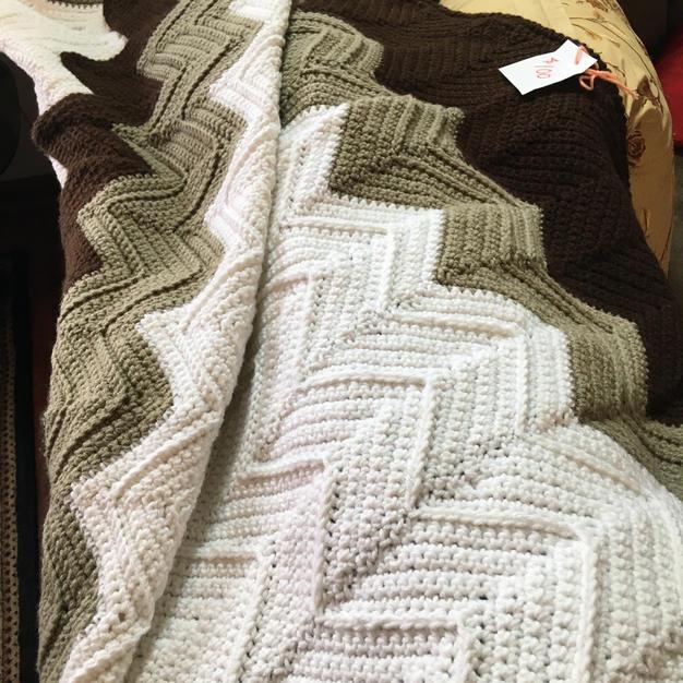Full Size Chevron Stitch Throw Blanket - $100