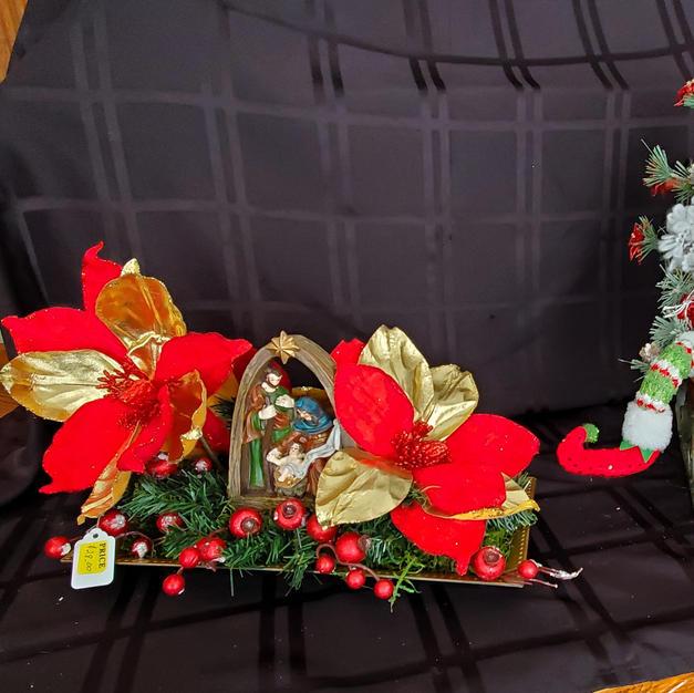 Red Nativity and Santa Sleigh - $28 each