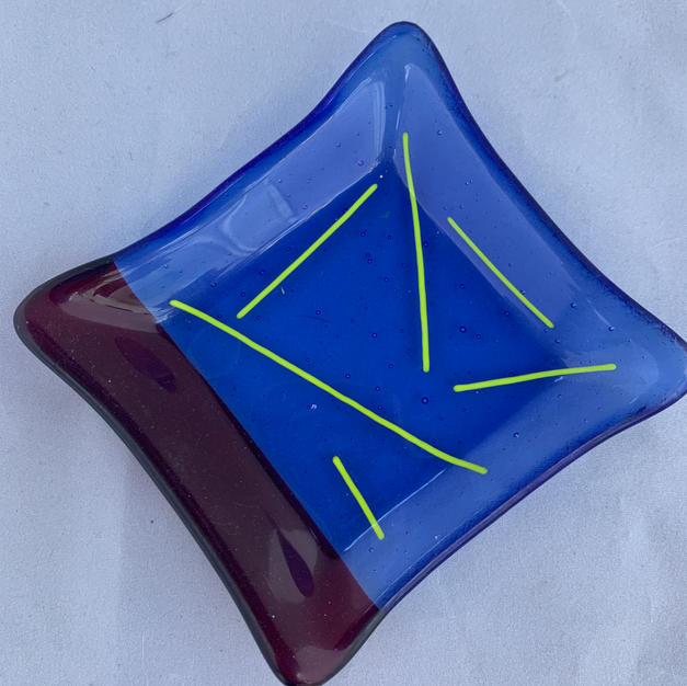 Fused Glass Dish in Red and Blue $12