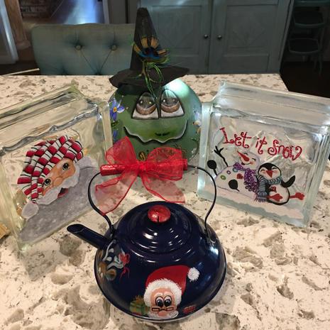 Christmas Glass Light Blocks, Tea Pot, Frog Gourd