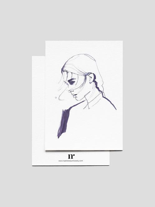 A6 Greetingcard: Girl Of Purple Ink