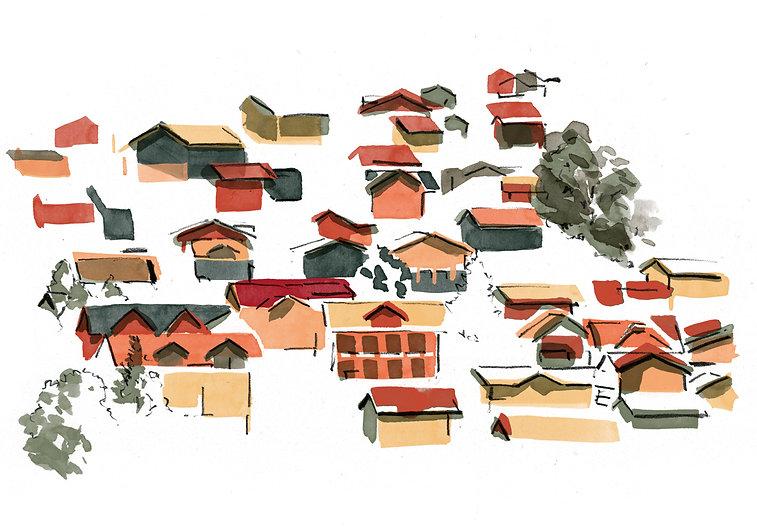 Kinderbuch Illustration Dorf
