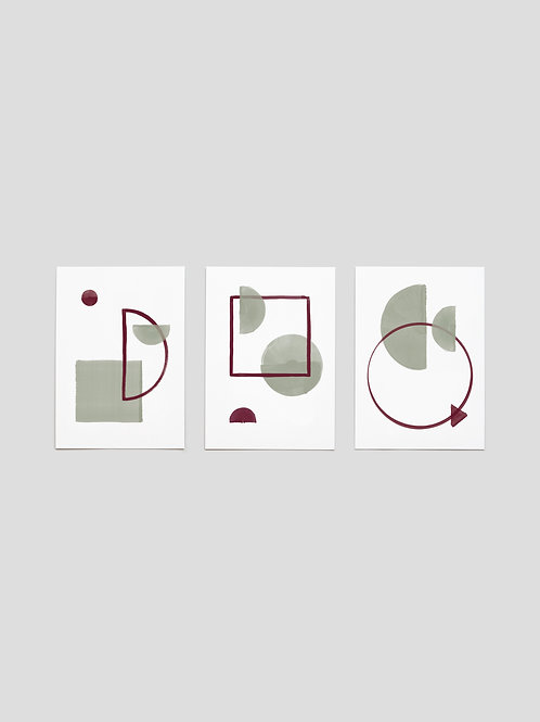 A6 Greetingcards: Geometric Halfmoon – set of 3