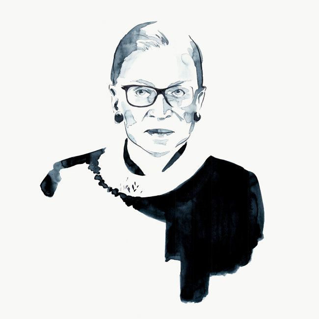 Watercolor Illustration Ruth Bader Ginsburg