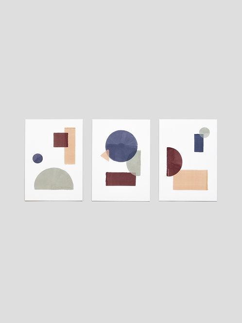 A6 Greetingcards: Geometric Arrangement – set of 3
