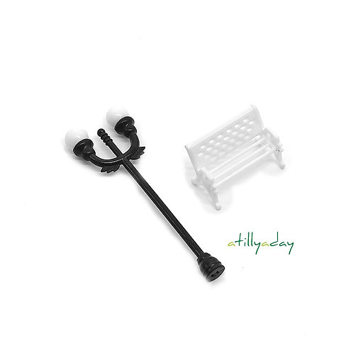 Black lamppost and White Bench Figurine