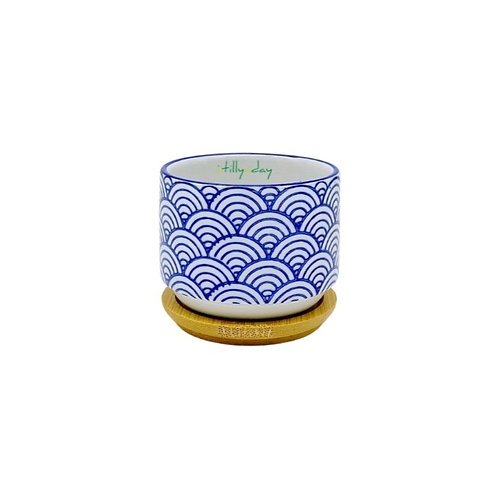 Blue and White Wave Circular Planter