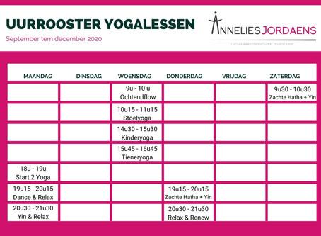 We starten opnieuw op met indoor yoga!!! - Uurrooster