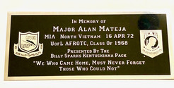 Plaque that will be mounted on the Flag of Valor before it is placed on the wall.