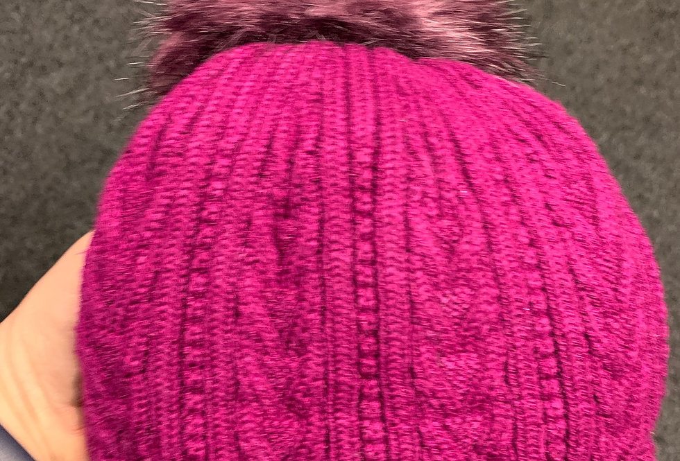 Pink Hat - Cable Knit