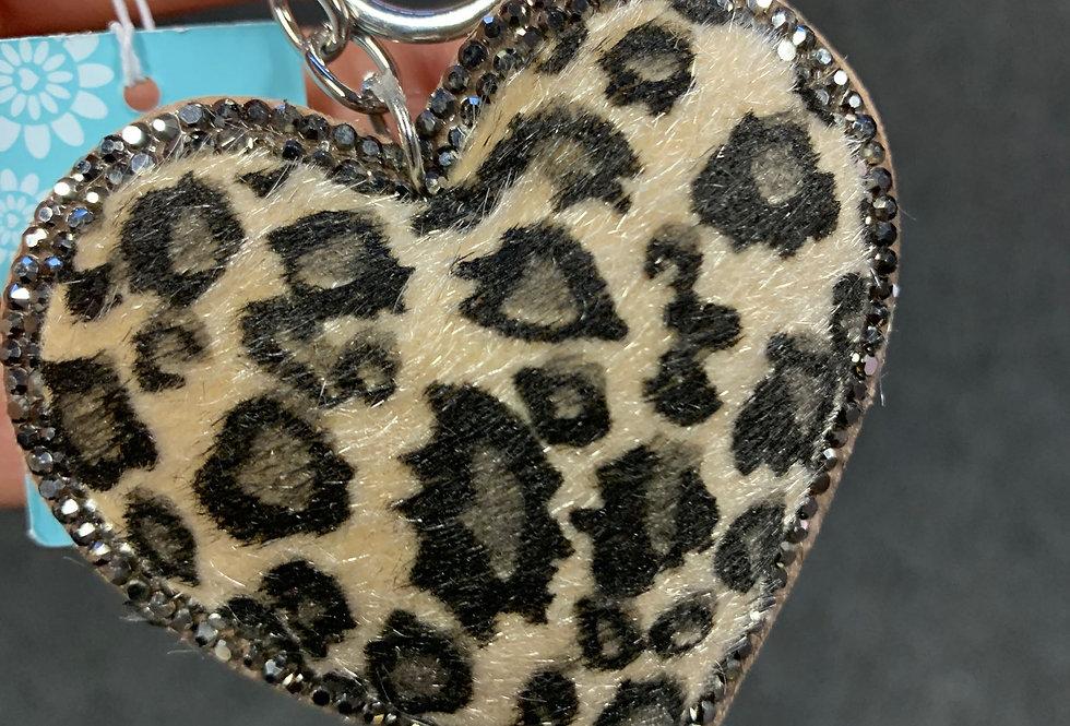 Beige Leopard Heart Keyring (Organza Gift Bag)