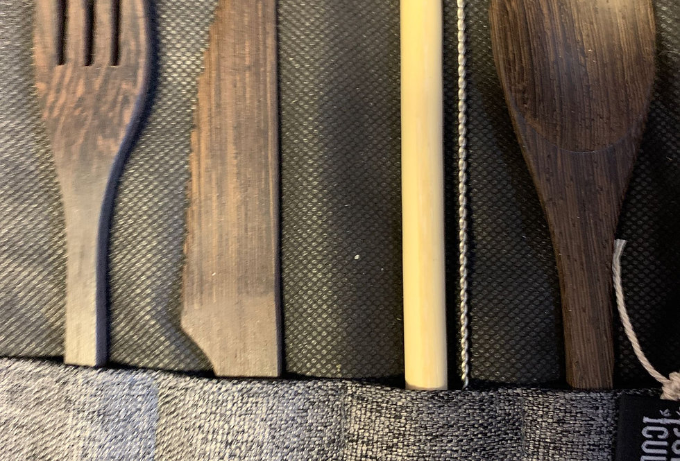 Grey Dark Wood Cutlery Set