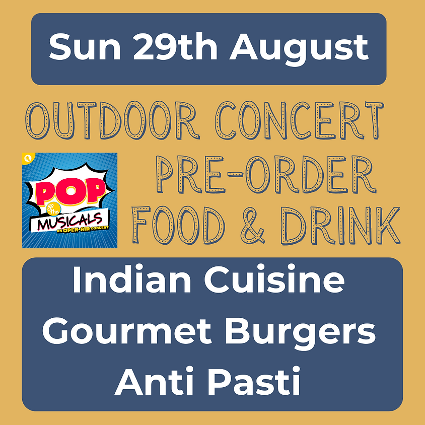 Sun 29th August 2021 - Pre-Order Food & Drink Options for Outdoor Concert