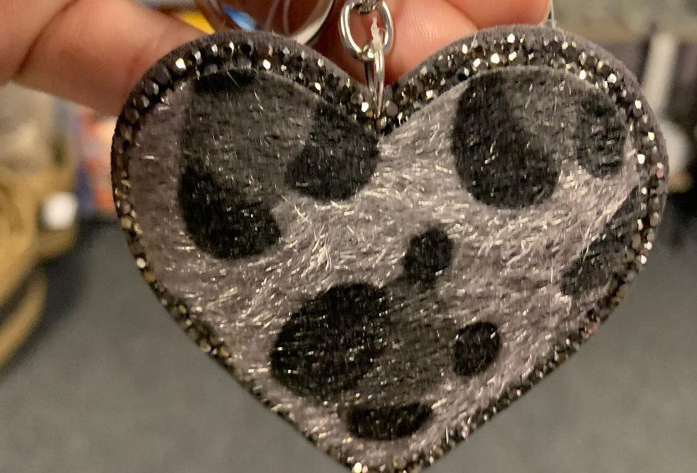 Grey Leopard Heart Keyring (Organza Gift Bag)