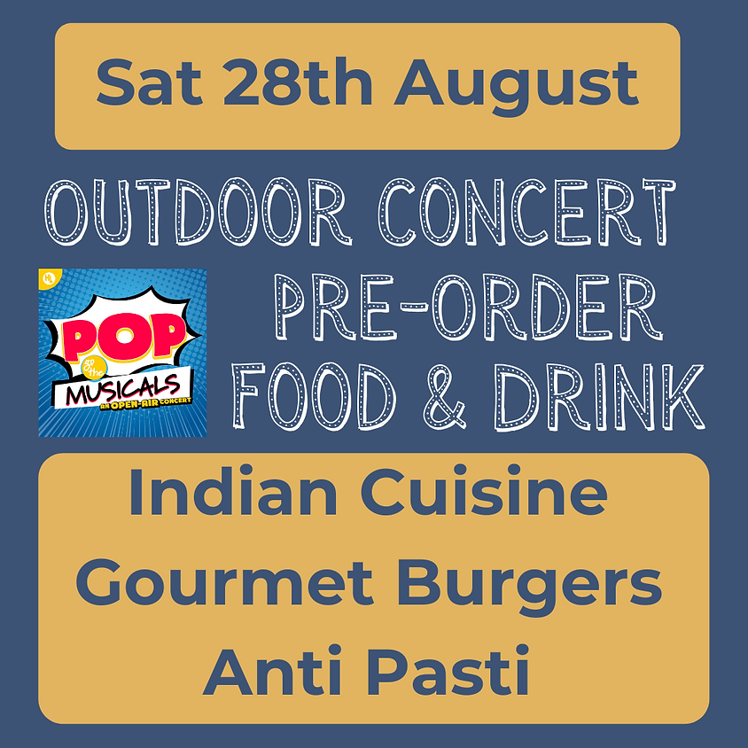 Sat 28th August 2021 - Pre-Order Food & Drink Options for Outdoor Concert