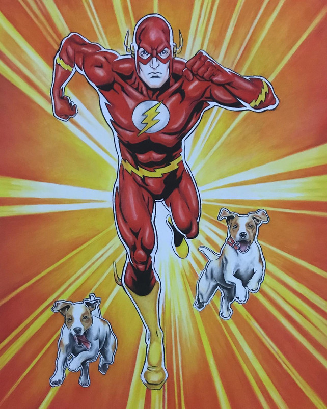 The Flash with Puppies - SOLD