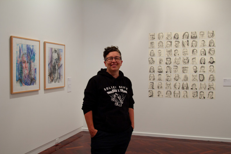 Marce at their 'I think you're on mute' exhibition - Jan 2021