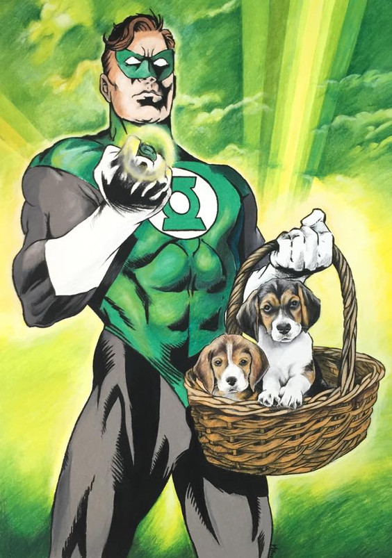 Green Lantern with puppies - SOLD