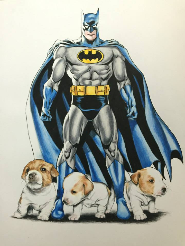 Batman with Puppies - SOLD