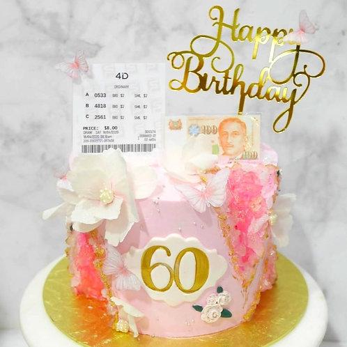 Sweet Pink with Edible Flowers & Butterflies Geode Gem 4D Money Pulling Cake