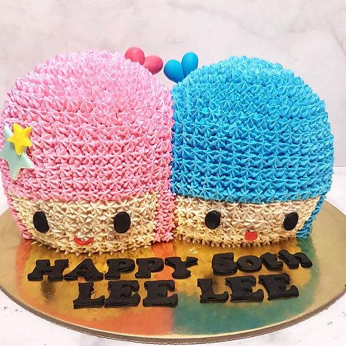 3D Little Twin Stars Cream Cake