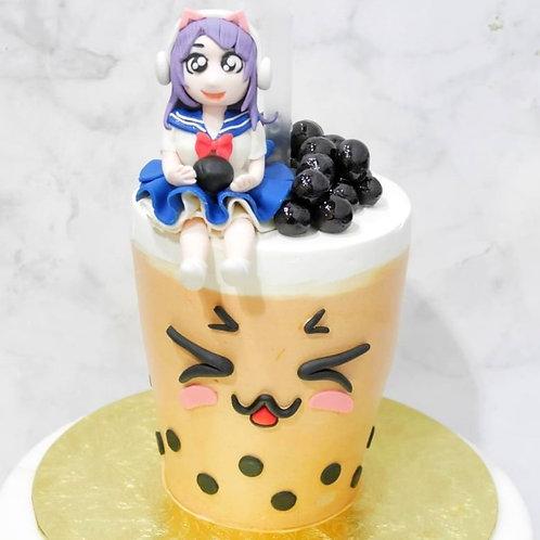 Cute Anime Girl on Drinkable Bubble Tea Cake