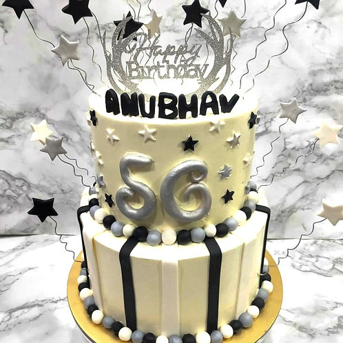 Silver, Black & White Stars Two Tier Cake