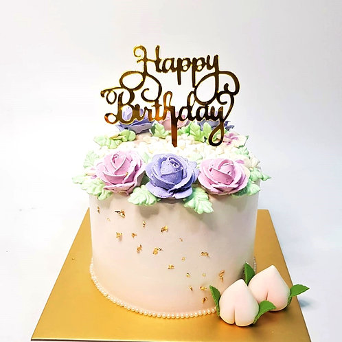 Sweet Pastel Floral Longevity Money Pulling Cake