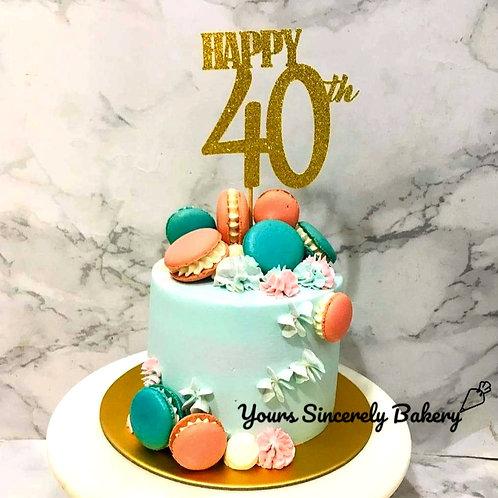 Blue & Pink Macarons 40th Birthday Cake