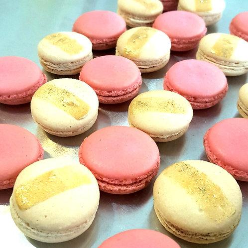 Pink & White Gold Macarons