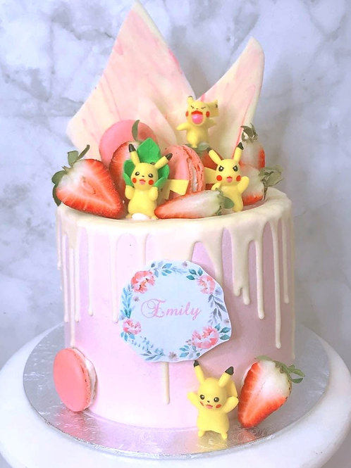 Pikachu with Strawberries White and Pink Drip Cake