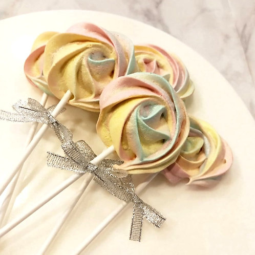 Rainbow Meringue Lollipops