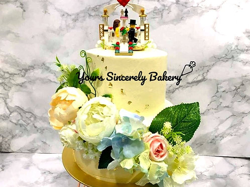 Lego Land Propose Floral Two Tier Cake