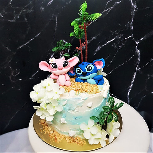 Stitch And Angel Beach Themed Cake