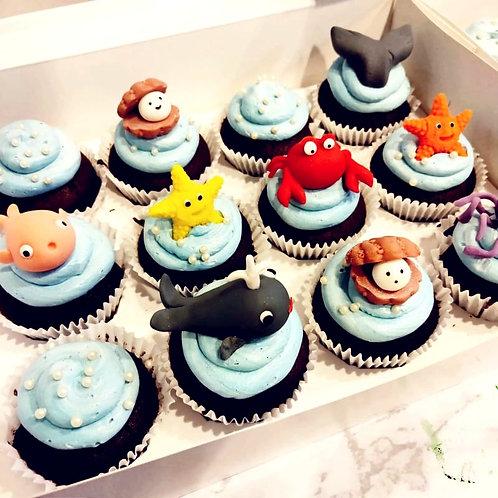 3D Sea Animals Cupcakes