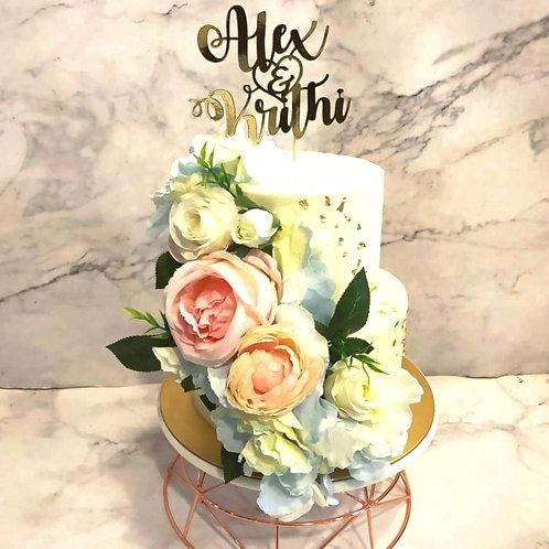 Pastel Pink & Blue Floral Wedding Cake
