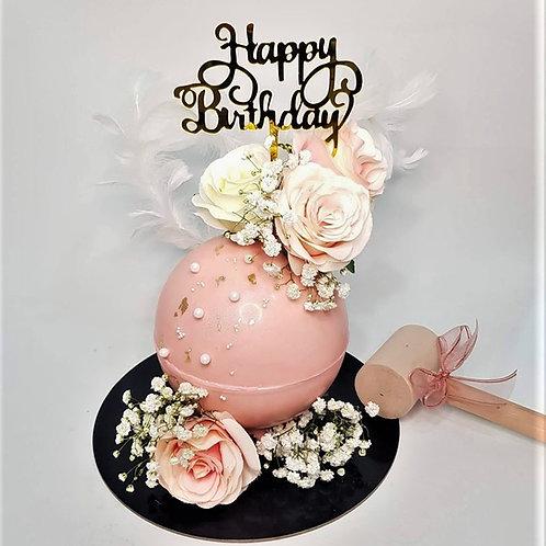 Pastel Pink Floral Knock Knock Pinata Cake