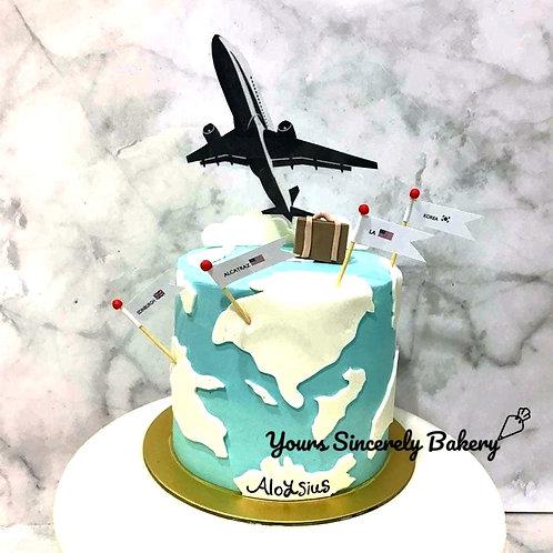 Aeroplane Travelling World Map Cake