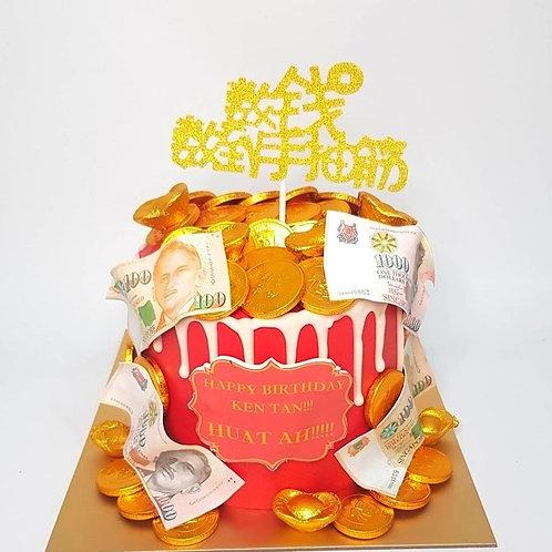 Feeling Rich White Drip Red Money Pulling Cake