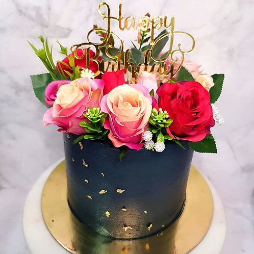 Midnight Blue Floral Roses Money Pulling Cake