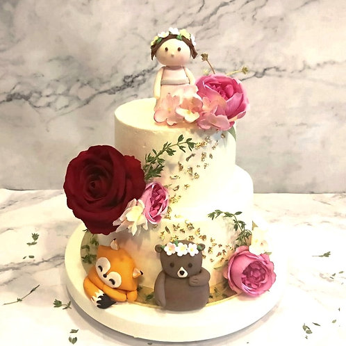 Rustic Floral Princess with Animals Cake