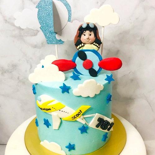 Little Girl Airplane Flight Aeroplane Blue Sky Themed Cake