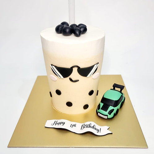 Drinkable Bubble Tea Cake with Green GTR Car