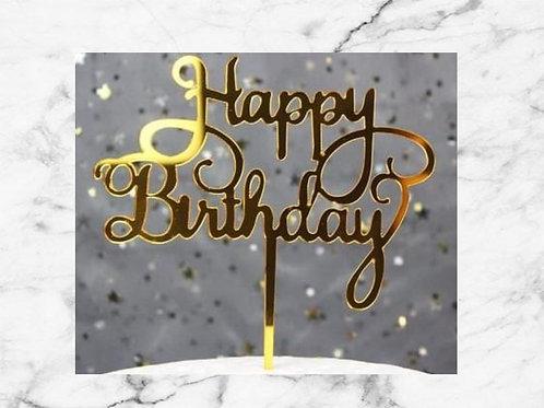 Gold Happy Birthday Cake Topper