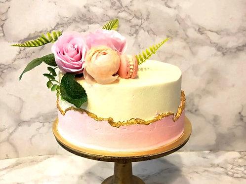 Floral Pink & Gold Fault Line Cake